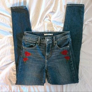 Levis 721 High Rise Skinny Embroidered Jean 25